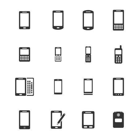 vintage telephone: Phones simple icons for web