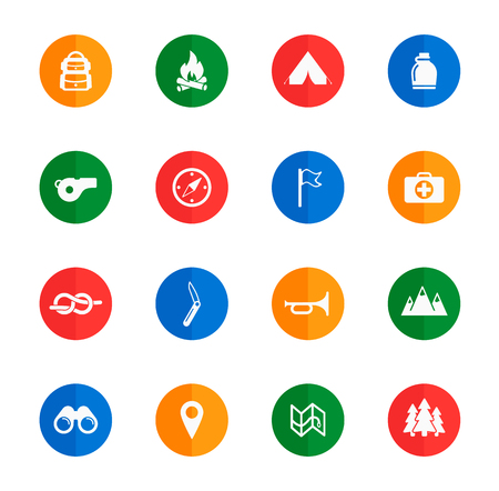 binoculars view: Boy scout flat icons for media Illustration