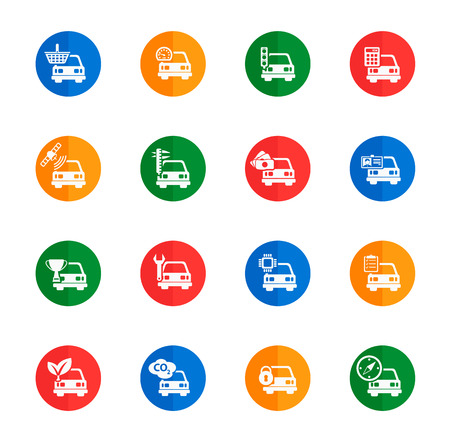 calculus: Car service flat icons for media Illustration