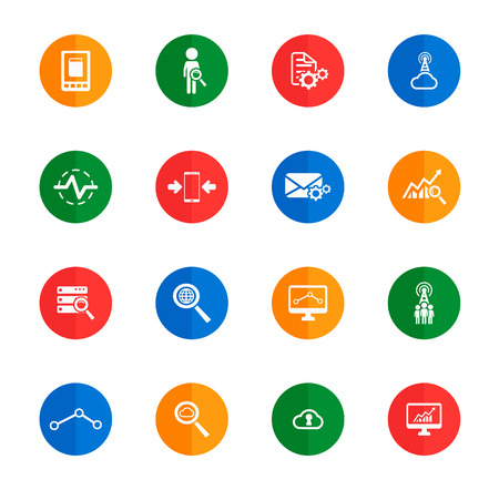 analytic: Data analytic flat icons for media