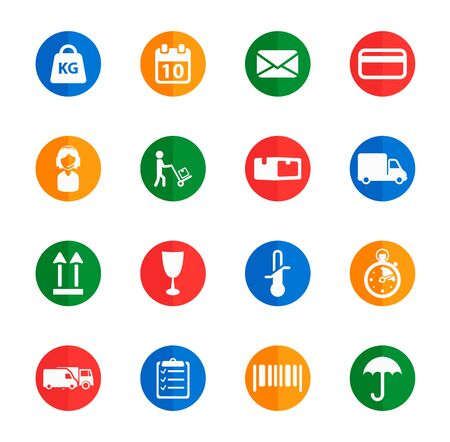 box weight: Delivery flat icons for media