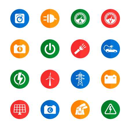 ammeter: Electricity flat icons for media Illustration