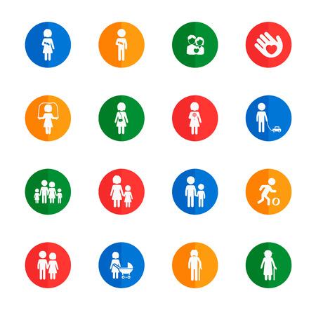 oldman: Family flat icons for media