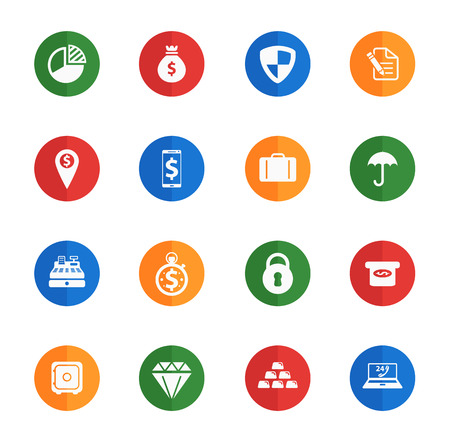 gold record: Finance flat icons for media Illustration