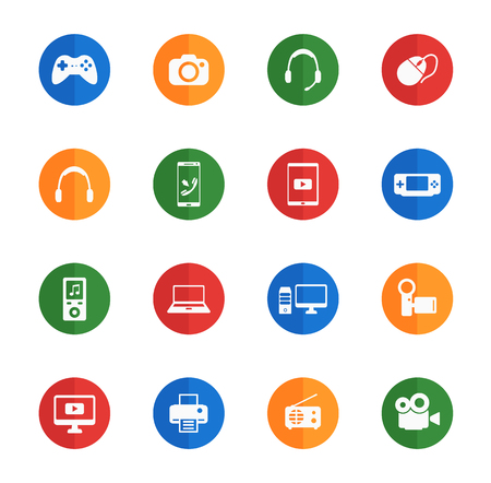 portable console: Gadgets flat icons for media