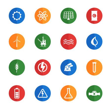 power generation: Power generation flat icons for media