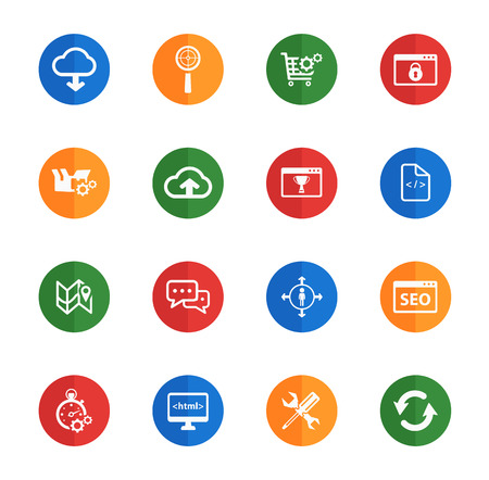 setup man: SEO and development flat icons for media Illustration