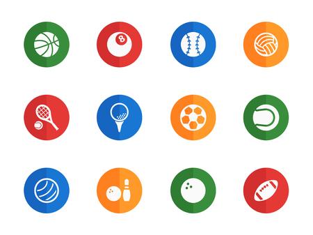 bola ocho: Sport balls flat icons for media