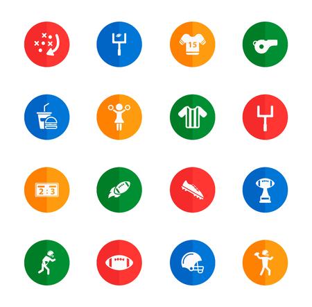 american media: American football flat icons for media Illustration