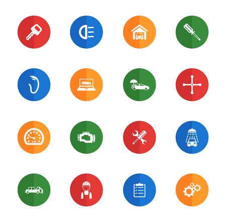 car garage: Car service  flat icons for media