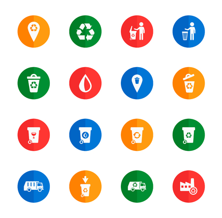 Garbage  flat icons for media