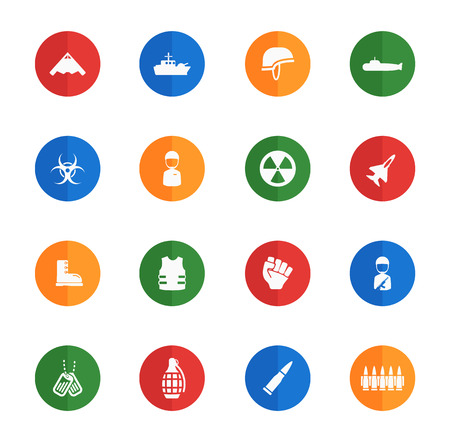 biological hazards: Military flat icons for media