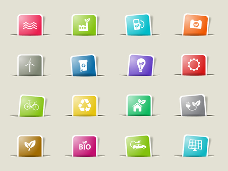 alternative energy: Alternative energy paper icons for web Illustration