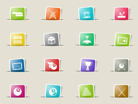 pool cues: Billiards paper icons for web