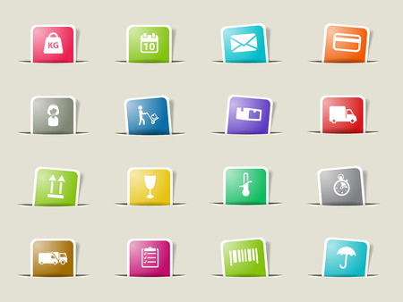 woman credit card: Delivery paper icons for web