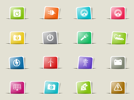 selector: Electricity paper icons for web Illustration
