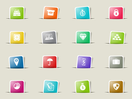 gold record: Finance paper icons for web Illustration