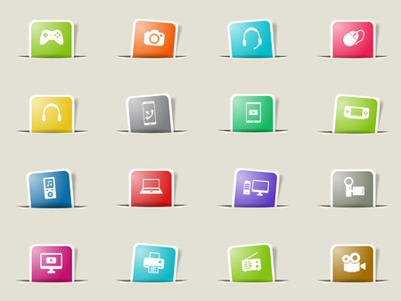 portable console: Gadgets paper icons for web Illustration