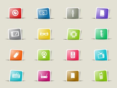 satellite tv: Gadgets paper icons for web Illustration