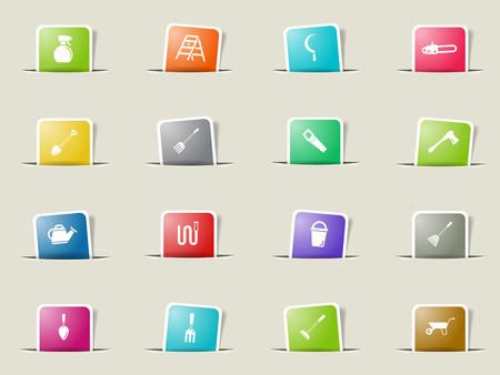 pulverizer: Garden tools paper icons for web