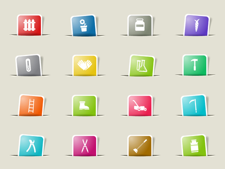ladder  fence: Garden tools paper icons for web