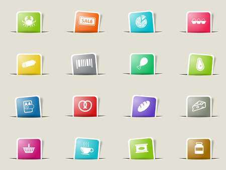 crab meat: Grocery paper icons for web