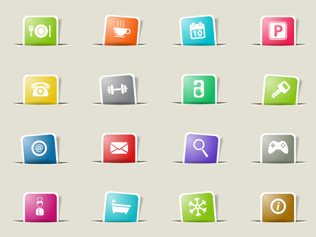 cold room: Hotel paper icons for web