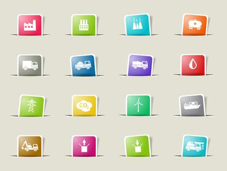 power shovel: Industrial paper icons for web Illustration
