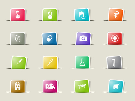 catheters: Medical paper icons for web Illustration