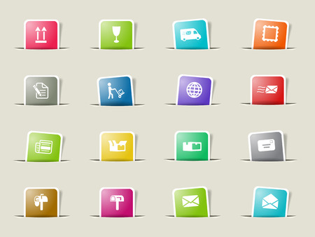 news van: Post service paper icons for web