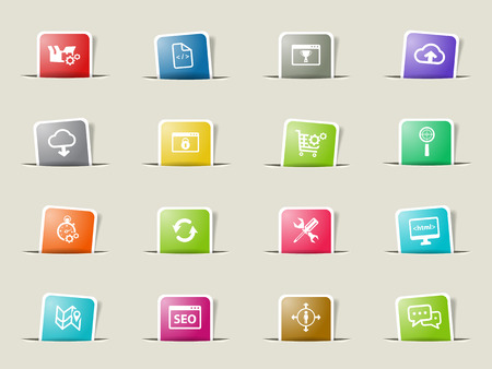 setup man: SEO and development paper icons for web Illustration