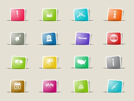 day: Valentines day paper icons for web Illustration
