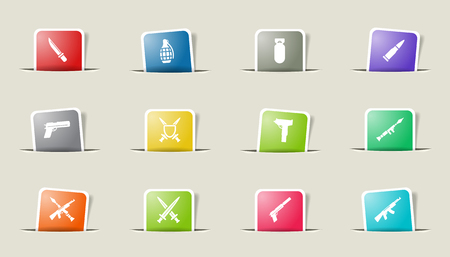 bombing: Weapon paper icons for web