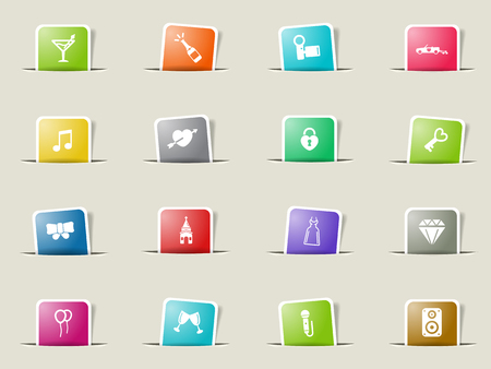Wedding paper icons for web
