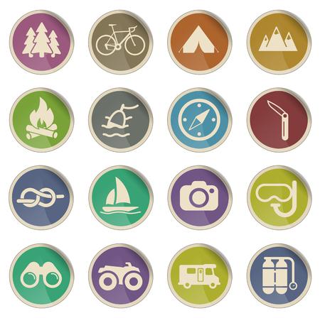 ricreazione: Icone etichetta ricreazione attivi per il web Vettoriali