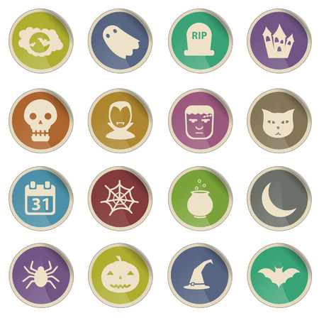 abandoned house: Halloween label icons for web