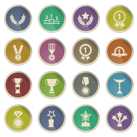 champ: Medals and tropheys label icons for web