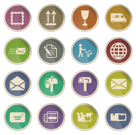 news van: Post service label icons for web