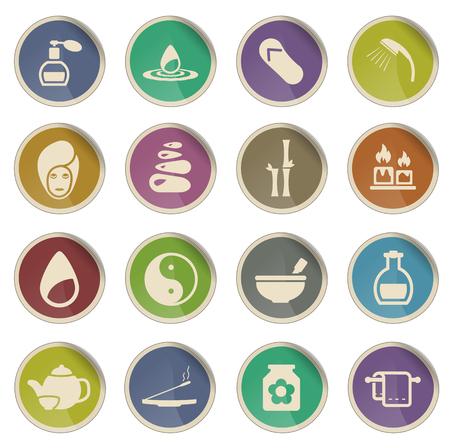 medical shower: Spa label icons for web Illustration