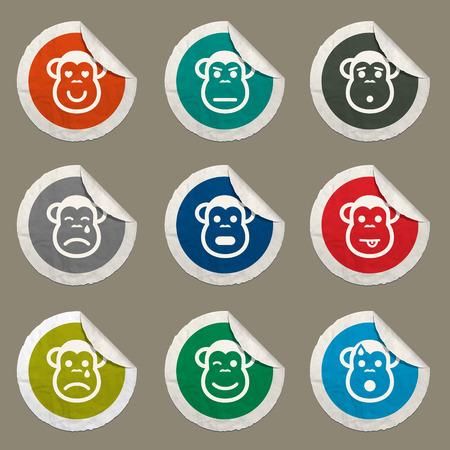 skepticism: Monkey emotions sticker icons for web