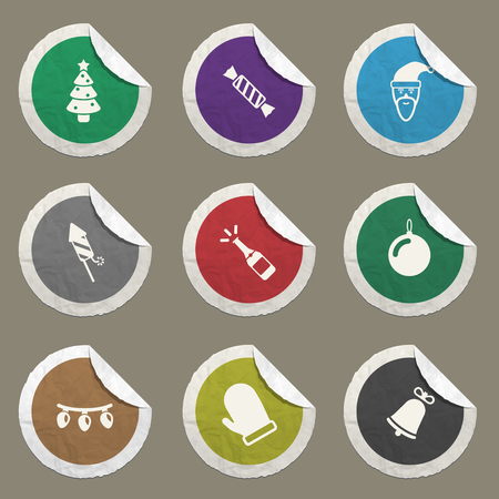 champagne pop: New year sticker icons for web