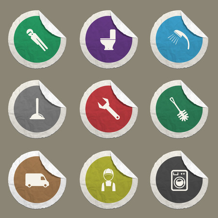 plumbing repair: Plumbing service sticker icons for web