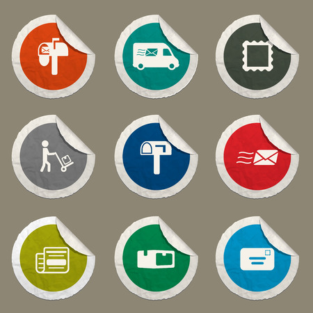recipient: Post service sticker icons for web