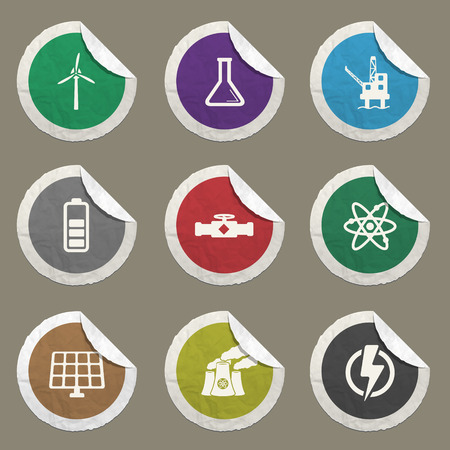 power generation: Power generation sticker icons for web