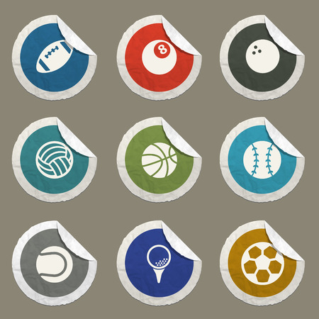 ballon foot: Sport balls sticker icons for web