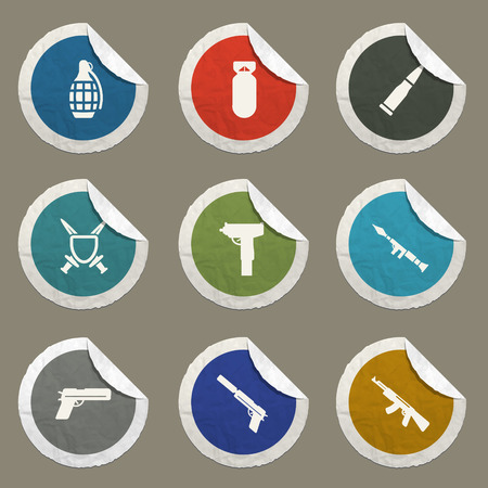 frag: Weapon sticker icons for web Illustration