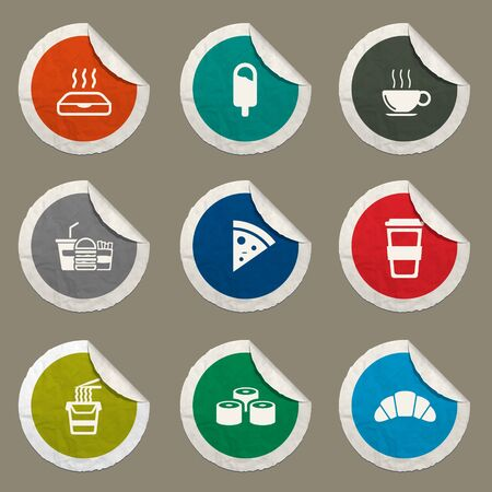 ice pack: Fast food sticker icons for web Illustration