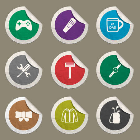 smocking: Fathers day sticker icons for web