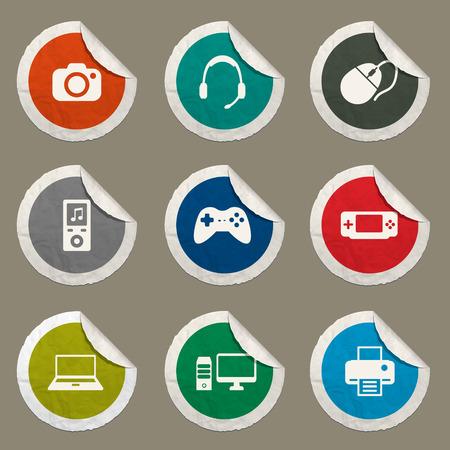 desktop printer: Gadgets sticker icons for web