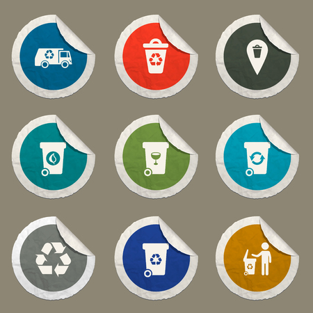 Garbage sticker icons for web
